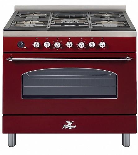 עדכון מעודכן תנור אפיה מקצועי משולב כיריים 90 ס״מ בורדו מבית BOMPANI בומפני דגם JY-06
